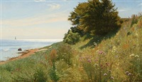 summer idyll at a coast with colorful flowers by ludvig kabell