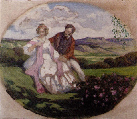 lady and gentleman in a landscape by geza udvary