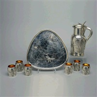 aethetic movement beverage set in the japanesque style (8 works) by tiffany & company