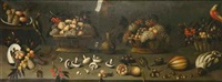 still life with fruits, vegetables, wine and birds by agostino verrocchi
