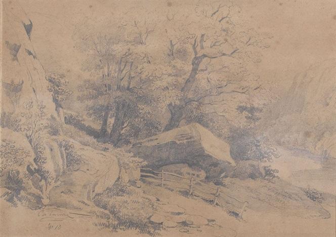 landschaftspartie mit baumgruppe by alexandre calame