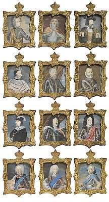 de oldenborgske kongerække fra christian i til frederik v set of 12 by johann jacob bruun