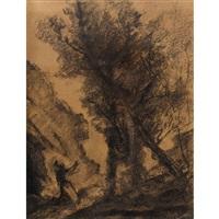 paysage avec une femme agenouillée by jean-baptiste-camille corot