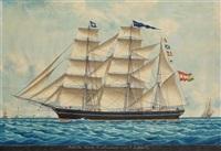 """bark """"mathilde armateur mr de pavison capn. n. sicherick"""" vor marseille by louis françois prosper roux"""