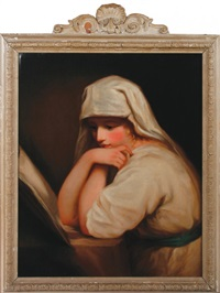 portrait of lady hamilton as contemplation by george romney