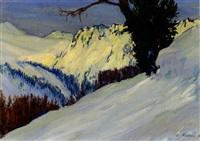 verschneite hochgebirgslandschaft an einem sonnigen tag by carl friedrich felber