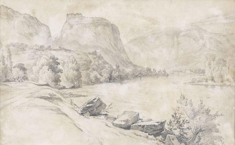flusslandschaft mit bergen by alexandre calame
