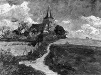 landschaft mit kirche by carl jutz the younger