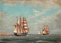 seascape with two brigantines near a coast by carl (jens erik c.) rasmussen