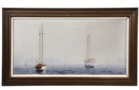 sailboats moored in fog by charles r. selmi