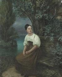 porträt einer jungen frau an einem see by joseph simon volmar