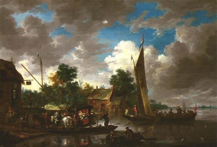 ankunft einer herrschaftlichen kutsche vor einer herberge am ufer mit booten by jan peeters the elder