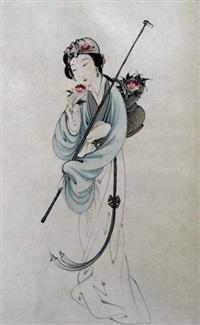blumenfee mit päonienkorb by xiaomou