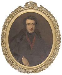 portrait of edward conroy in a black coat and red scarf by frederick yeates hurlstone