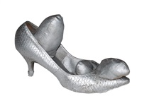 silver shoe by yayoi kusama