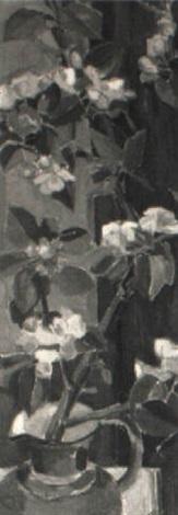 stilleben mit kirschblütenzweig in einem krug by hermann oberli