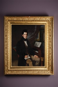 portrait of a young man holding music beside a piano by sebastian gutzwiller