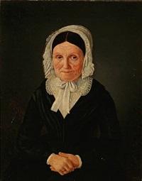 portrait of an elderly woman in a black dress by jean meno haas