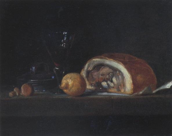 stilleben mit schinken zitrone und rotweinglas by jean baptiste siméon chardin