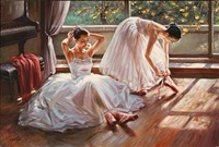 two ballet girls making ready for practice by alexander akopov