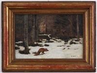 renard dans une forêt enneigée by edouard paul merite
