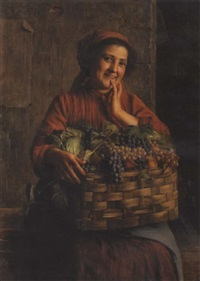 a peasant woman with a basket of grapes and other fruit by giovanni sandrucci