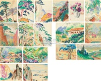 landscapes (17 works, various sizes) by huang shan, hang zhou and li yongsen
