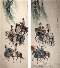杨贵妃出游图 (2 works) by fu baoshi