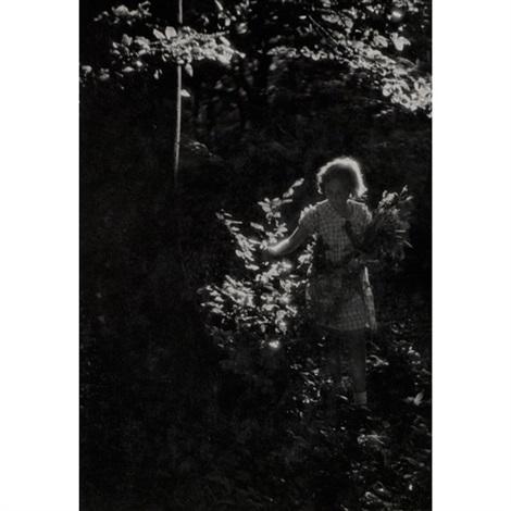 mädchen mit blumen im wald girl with flowers in the forest by jenö dulovits