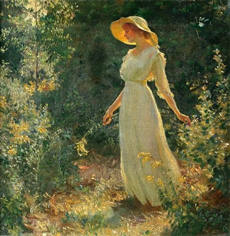 woman in a white dress in a garden by charles courtney curran
