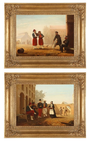 wounded soldiers conversing in infirmary courtyards another 2 works by willem tjarda van starkenborgh stackouwer