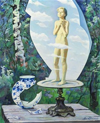 still life with cupid and vase by marc klionsky