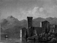 häuser und wohnturm am see, im hintergrund berge by franz theodore grosse