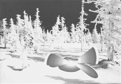 large nude in snow landscape by tobias rehberger