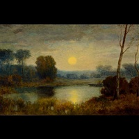 sunset landscape with a quiet pond by george inness