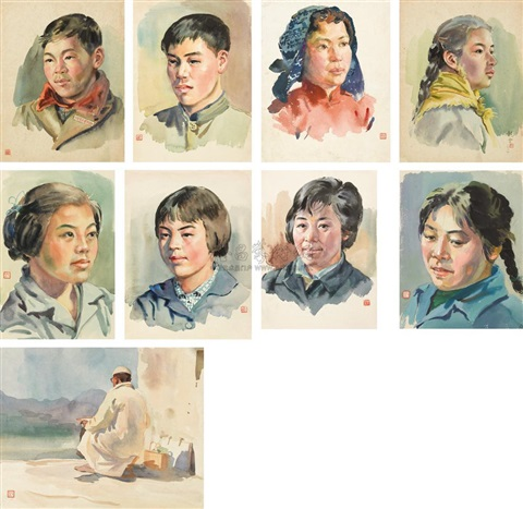portraits 9 works various sizes by shao liangyun and li yongsen