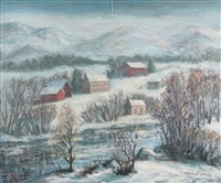 new hope, pennsylvania snowscape by caroline jobbins