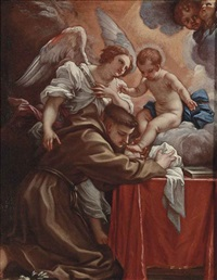 saint anthony of padua adoring the christ child, with an angel by carlo maratta