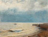 beach scene with fishermen in the water edge by vilhelm theodor fischer