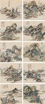 emulation of ancient landscapes (album of 10) by hongwu