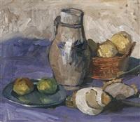 stilleben mit weinkrug und früchten (+ limburg (study); verso) by ernst pfau