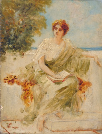 study of a girl dressed in greekroman costume seated on a balcony by sir lawrence alma tadema