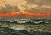 coastal scene at sunset by conrad hans selmyhr