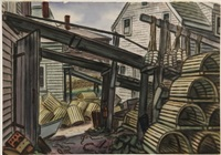 lobster traps, monhegan by emil eugen holzhauer