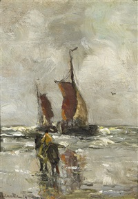 a horse and rider on a beach with two boats offshore by gerhard arij ludwig morgenstjerne munthe