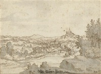 a landscape with a church and castle in the distance by josua de grave