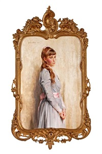 portrait of a woman in a mauve dress by julian russel story