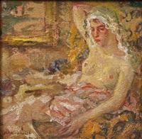 impressionistisch anmutendes erotisches damenportrait by augustus annus