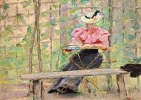 dame siddende foran et espalier i en have by georg nicolaj achen