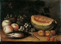 früchtestilleben mit erlegter bekassine by cornelis de bryer